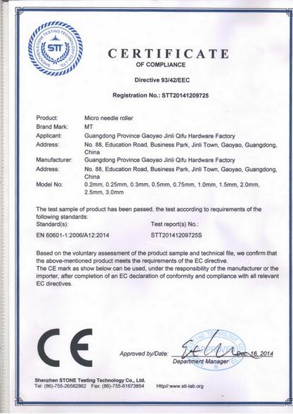 Сертифікат на Мезороллери MT
