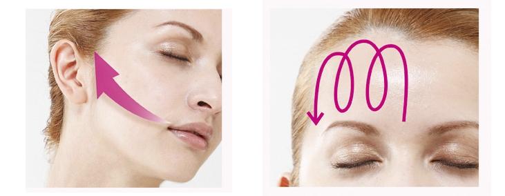 Массажные линии щеки и лоб